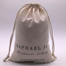 Promotion gift jewelry packing bag eco-friendly organic cotton recycle natural color printed canvas drawstring bag