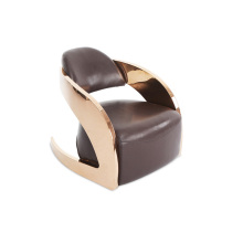 Single leather stainless steel armchair