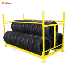 Powder coated foldable heavy duty tire racks for warehouse