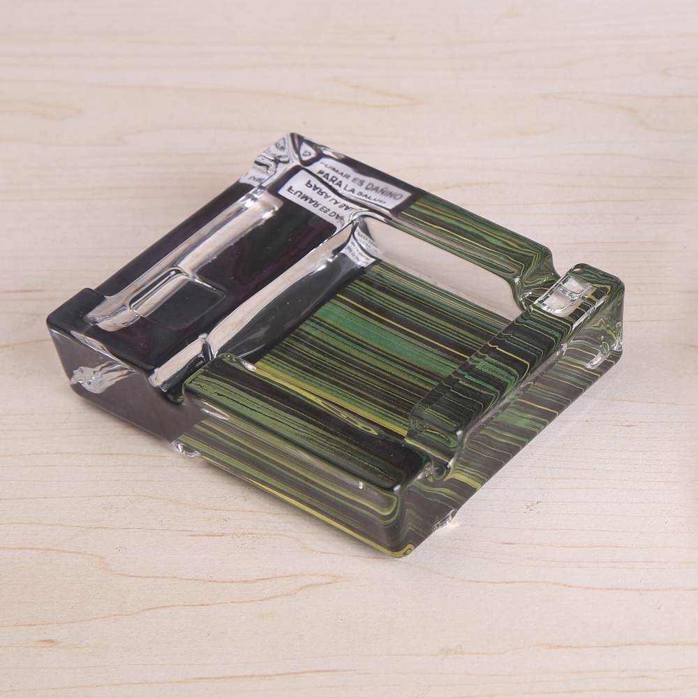 glass Square Decal Ashtray