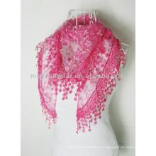 2014 Moda de las señoras 100% algodón Voile bufanda chal con borla de encaje de bordado