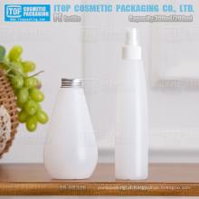 gota de 200ml a 300ml forma pescoço padrão 24 28/400/410 fosco garrafa de plástico PEAD bomba