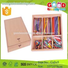 Hochwertiger preiswerter Preis hölzerne Stöcke Spielwaren GABE 8 froebel Geschenk gabe pädagogische Spielwaren