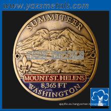 personalizar medallas de metal, medallas personalizadas de palo de montaña de alta calidad con acabado antiguo y esmalte suave