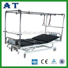 Four cranks manual lumbar traction bed