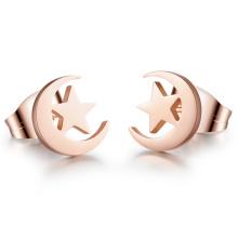 Luna y las estrellas elegantes rosa pendientes del perno prisionero del oro acero inoxidable