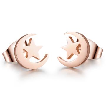 elegant stars and  moon rose gold stainless steel stud earrings