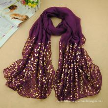 Special women golden leopard print hijab arabic dubai muslim hijab warp head scarf