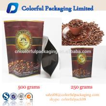 A folha de alumínio de 500g 250g 100g levanta-se o saco de empacotamento matte do feijão de café