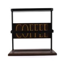 Classic Wood and Metal Coffee Cup Display Rack