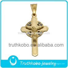 PVD Palting Gold Fashion Stainless Steel Christian Religious CZ Pendant Jesus Cross Muslim Charms As For Easter Holiday Gift
