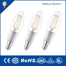 Lampe de bougie blanche chaude de filament de 220V 3W E14 SMD LED