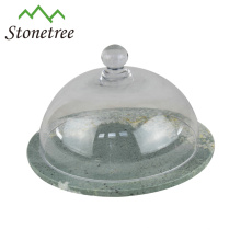 Chinese New Black Marble Cake Bases Cheese Board With Glass Dome Cover