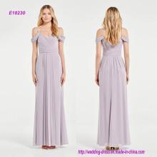 Atemberaubende drapierte Schulter Grecian Style Brautjungfer Kleid
