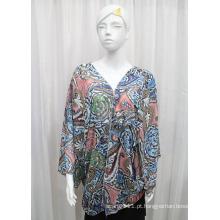 Lady Moda Paisley Impresso Poliéster Chiffon Silk Shirt (YKY2214)