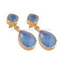 Голубой Оникс и 18k позолоченный моды серьги