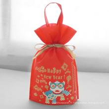 Pochette d'emballage cadeau du nouvel an avec poignée rouge