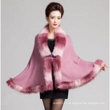 Lady moda espaço tingido de pele acrílico de malha xale de inverno (YKY4466-5)