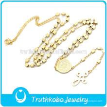 TKB-JN0017 Mode or catholique de qualité supérieure avec perles en forme de boîte et collier en acier inoxydable avec pendentif Crucifix pour femmes