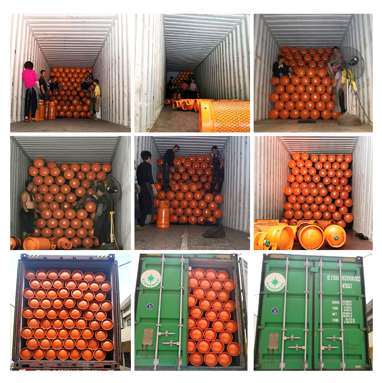 DOT CE ISO4706 12.5kg LPG gas cylinder export to Haiti for household cooking