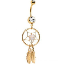 Anillo de vientre plateado oro plateado de Dreamcatcher de la joya cristalina