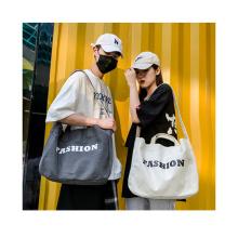 Large capacity thick cotton canvas fabric custom logo printed long tote hand bag unisex crossbody bag