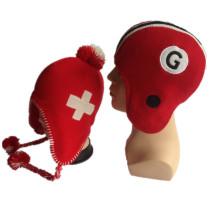 New Computer Flap Knitting vermelho e branco Boys Girls Winter Earflap Chapéus