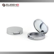 Matte silver compact blush case with mirror