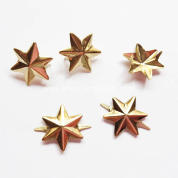13mm Gold Six Pointed Star Studs for Leathercraft