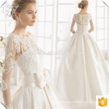 New Design Bateau Decote Cetim vestido de noiva vestido de noiva com borboleta 2017