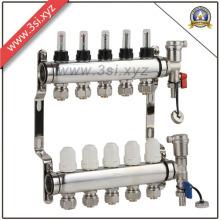 5 Wege Bodenheizung Wasserabscheider mit Manometer (YZF-L081)