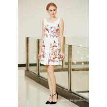 Neueste Modische Symmetrische Floral Placement Print Swing Skater Ponte Kleid