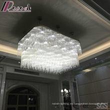 Lámpara colgante de cristal decorativo cuadrado blanco con Hotel Project