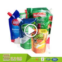 Wholesale Plastic Beverage Fruit Juice Soy Milk Refillable Reusable Squeezed Spout Pouch Soft Drink With Nozzle