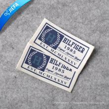 Étiquette de logo d'habillement de coton de toile imprimée faite sur commande