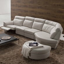 L-Shape Leather Sectional Sleeper Lounge Sofa Set