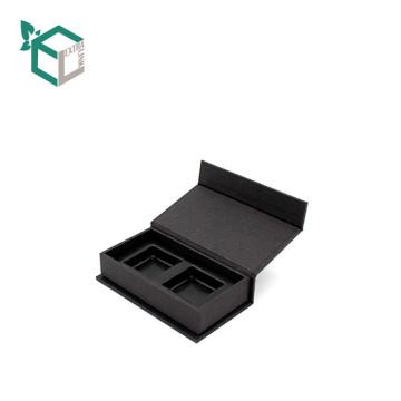 Caja de regalo magnética de cuero artificial negro personalizado