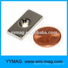Тонкий неодимовый магнит с одним отверстием