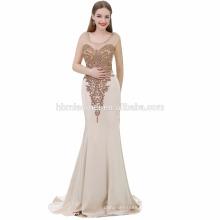 Vestido de noche exquisito del vestido de noche de las mujeres del tamaño grande de la sirena de Champán sin mangas