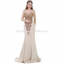 Exquise sans manches champagne couleur sirène grande taille femmes robe robe de soirée