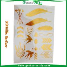 Etiqueta do tatuagem de folha de ouro de venda quente para venda