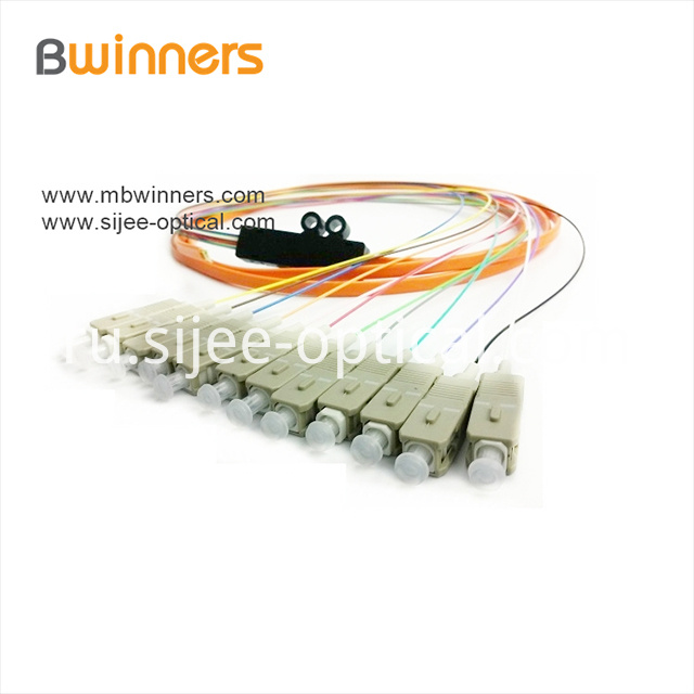 Single Mode 12 Core Scupc Ribbon Optic Cable Pigtail