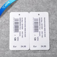 Étiquette de papier de prix d'usine / étiquette de balançoire pour l'étiquette de vêtements