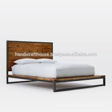Industrial Vintage Metal y madera cama King Size