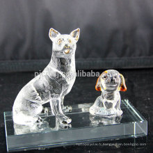 Promotionnel top qualité à la mode cristal verre animal figurines décoration chien verre artisanat