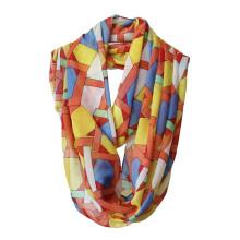 Женская мода Геометрия печатных полиэстер шифон бесконечность шарф (YKY1119)