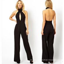 Black Cut-out Open Back Sexy Women Chiffon Jumpsuite