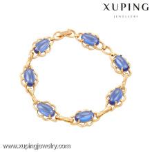 74016 Xuping wholesale fashion jewelry 18k gold bracelet with dark blue zircon