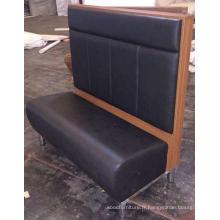 Cabine de restaurant en bois de cuir noir d'unité centrale de dos ou d'allocation des places de banc