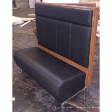Высокая спинка черный искусственная кожа ресторан деревянные будки или скамьи для сидения